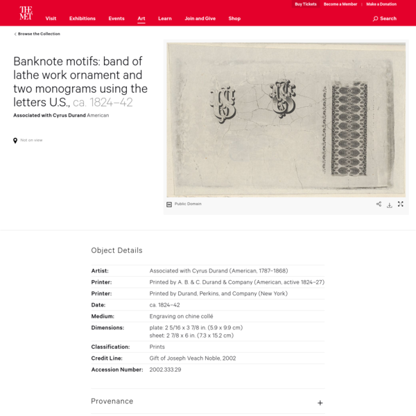 Associated with Cyrus Durand | Banknote motifs: band of lathe work ornament and two monograms using the letters U.S. | The Met
