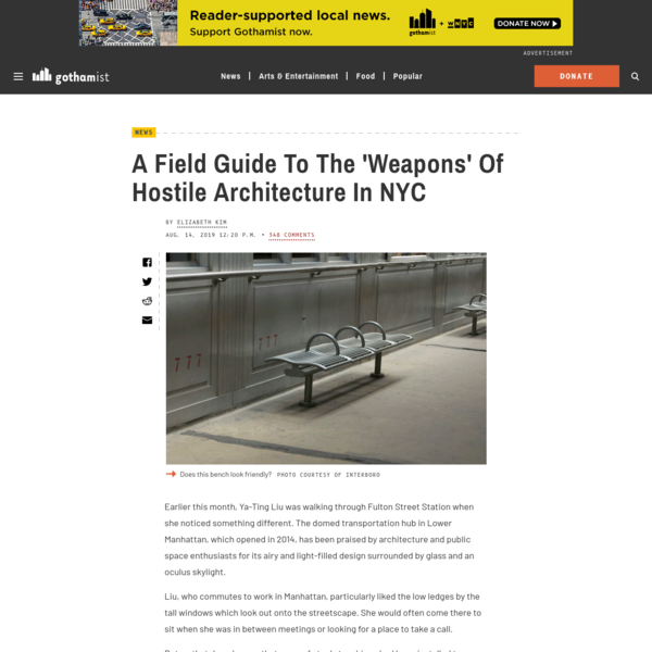 A Field Guide To The 'Weapons' Of Hostile Architecture In NYC