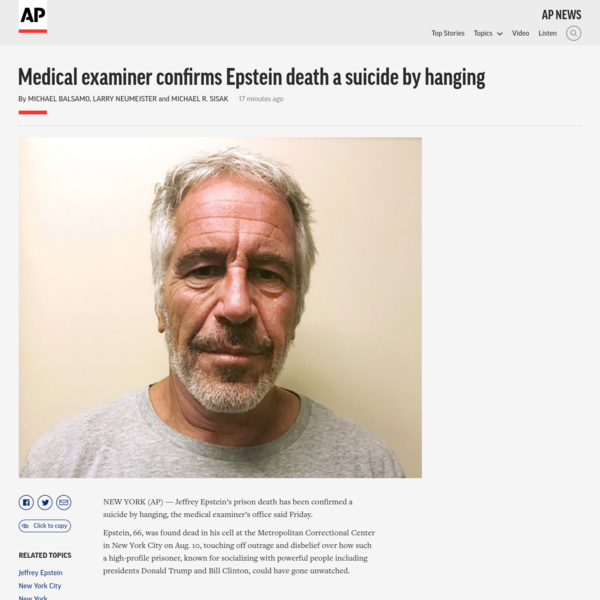 Medical examiner confirms Epstein death a suicide by hanging