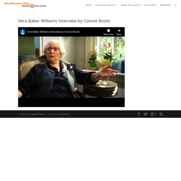 Vera Baker Williams Interview by Connie Bostic – BMCS