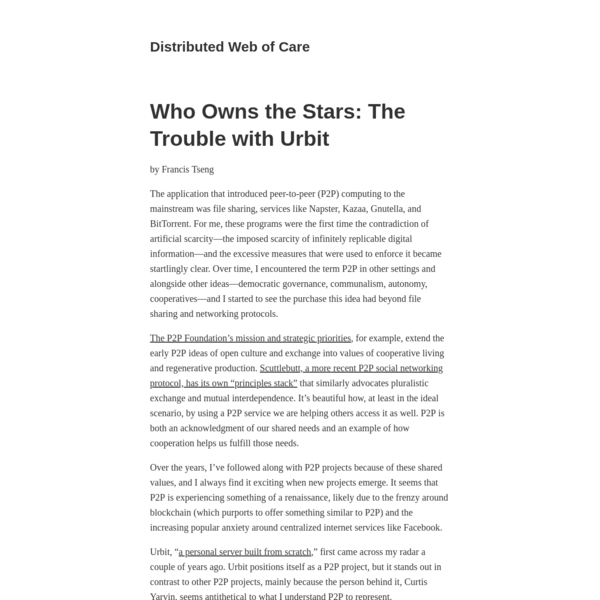 Who Owns the Stars: The Trouble with Urbit | Distributed Web of Care