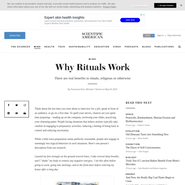 Why Rituals Work - Scientific American