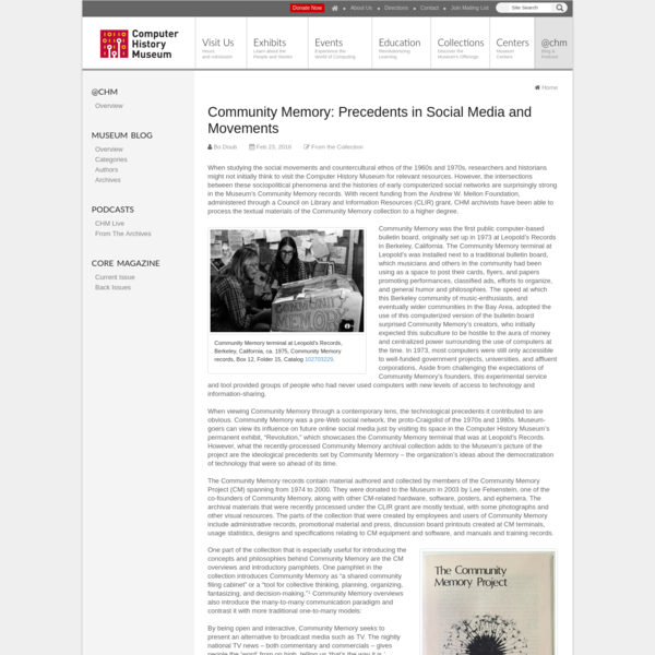 Community Memory: Precedents in Social Media and Movements