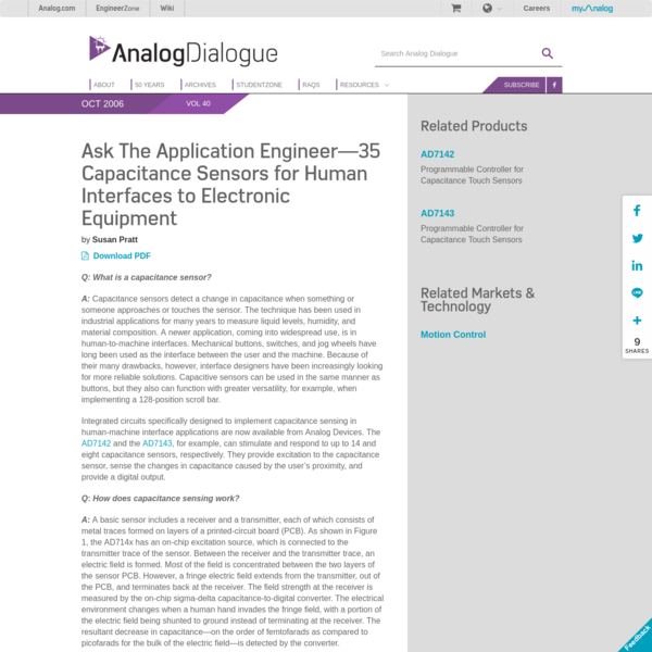 Capacitance Sensors for Human Interfaces to Electronic Equipment | Analog Devices
