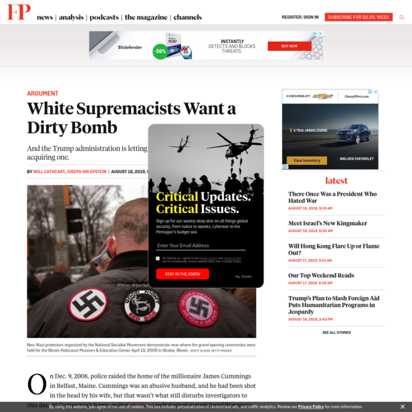 White Supremacists Want a Dirty Bomb