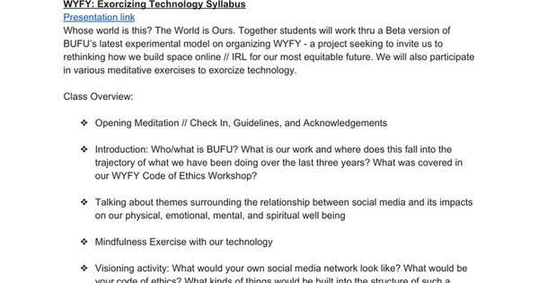 BUFU Syllabus/Agenda