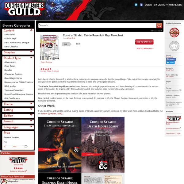 Curse of Strahd: Castle Ravenloft Map Flowchart - Dungeon Masters Guild | Dungeon Masters Guild