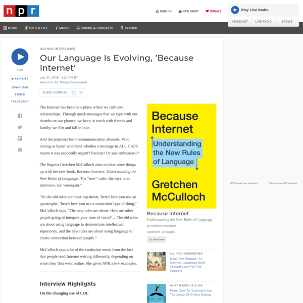 'Because Internet,' A Guide To Our Changing Language, LOL : NPR