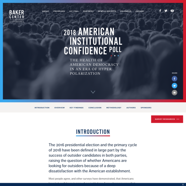 2018 American Institutional Confidence Poll - Georgetown University Baker Center McCourt School of Public Policy