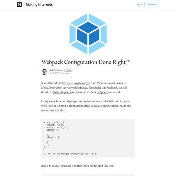 Webpack Configuration Done Right™