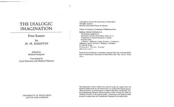 bakhtin the dialogic imagination four essays pdf By m m bakhtin the dialogic imagination: four essays (university of texas press slavic series) (reprint) amazon new copy fast shipping will be shipped from us.