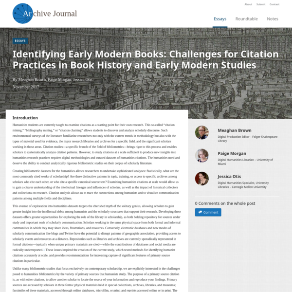 Identifying Early Modern Books: Challenges for Citation Practices in Book History and Early Modern Studies
