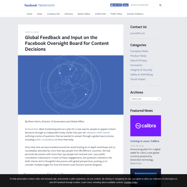 Global Feedback and Input on the Facebook Oversight Board for Content Decisions