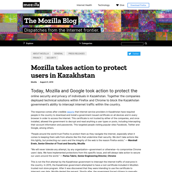 Mozilla takes action to protect users in Kazakhstan - The Mozilla Blog
