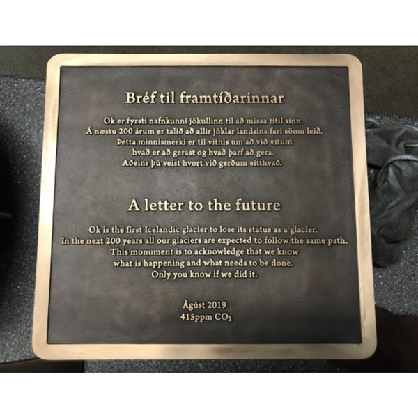 "Commemorative plaque for the Okjokull glacier in Iceland which has recently melted: ""This monument is to acknowledge that we..."
