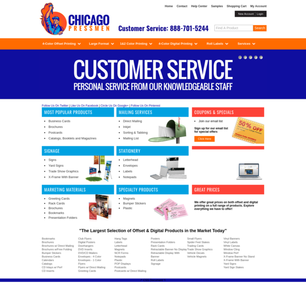 Online printing company Chicago Pressmen offering digital printing and offset printing