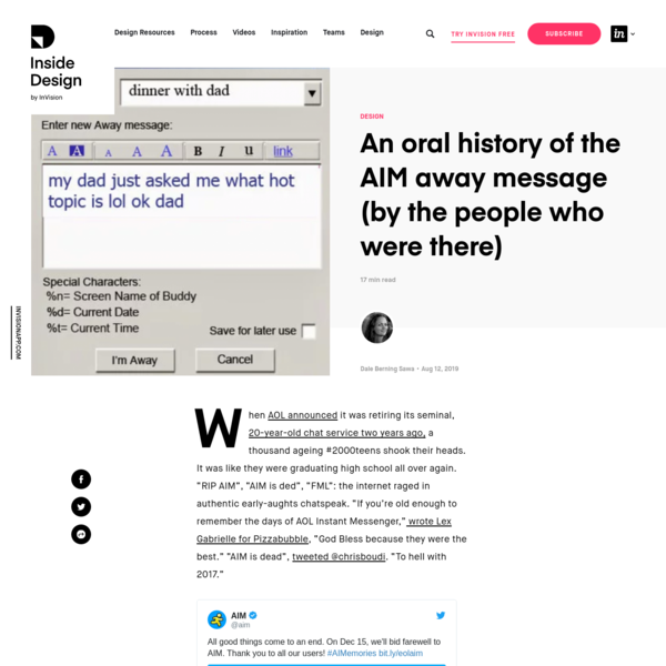 An oral history of the AIM away message (by the people who were there) | Inside Design Blog