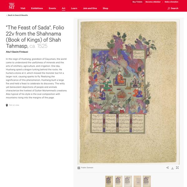 "Abu'l Qasim Firdausi   ""The Feast of Sada"", Folio 22v from the Shahnama (Book of Kings) of Shah Tahmasp   The Met"