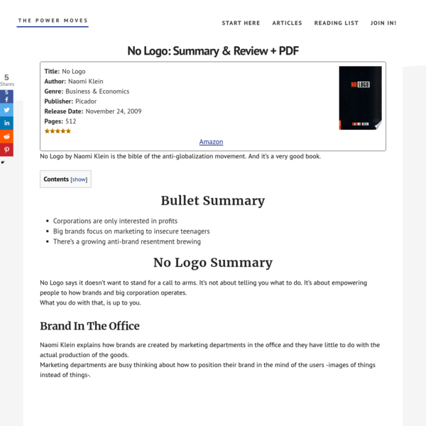 No Logo: Summary & Review + PDF | The Power Moves