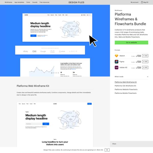Platforma Wireframes & Flowcharts Bundle Wireframes - Design Files