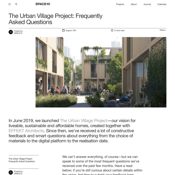 The Urban Village Project: Frequently Asked Questions