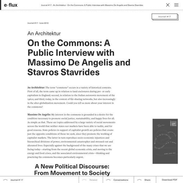 On the Commons: A Public Interview with Massimo De Angelis and Stavros Stavrides