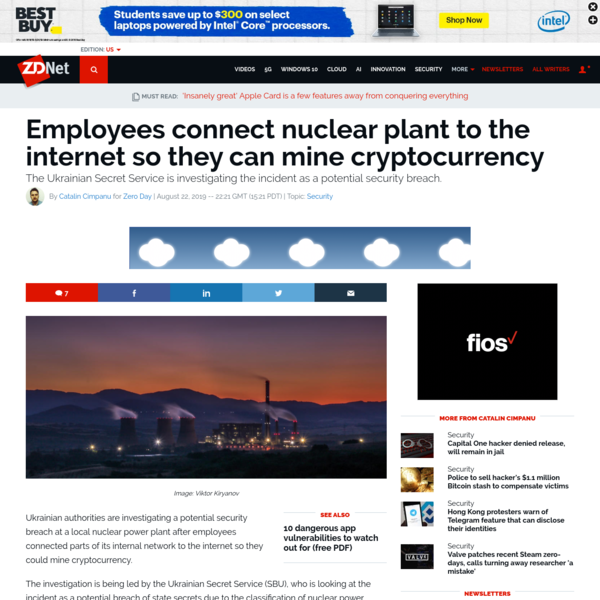 Employees connect nuclear plant to the internet so they can mine cryptocurrency | ZDNet