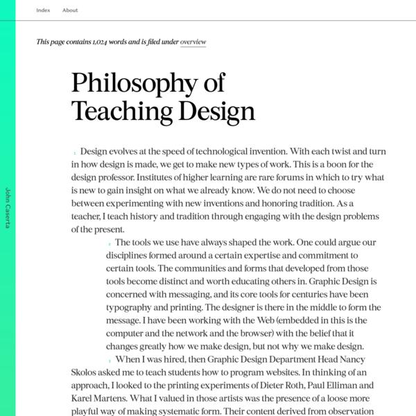 Philosophy of Teaching Design