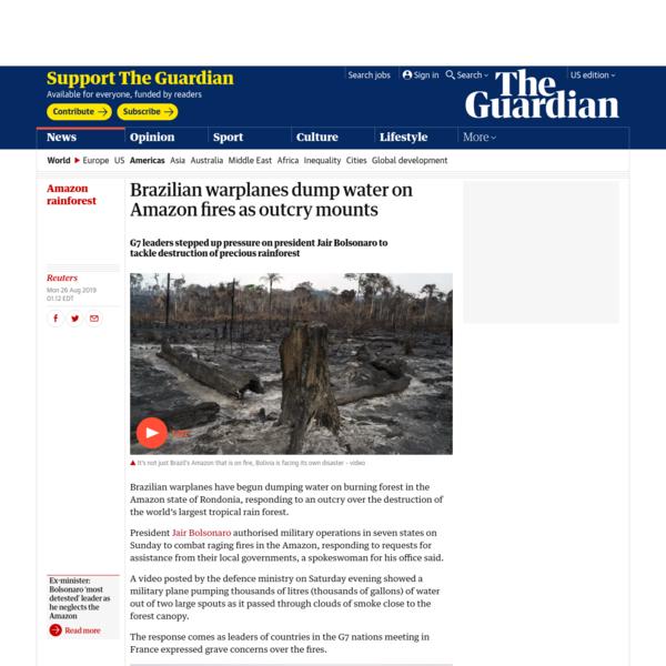 Brazilian warplanes dump water on Amazon fires as outcry mounts