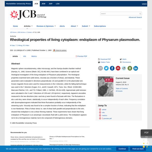 Rheological properties of living cytoplasm: endoplasm of Physarum plasmodium.