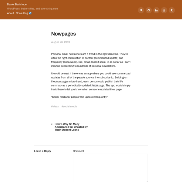 Nowpages - Daniel Bachhuber