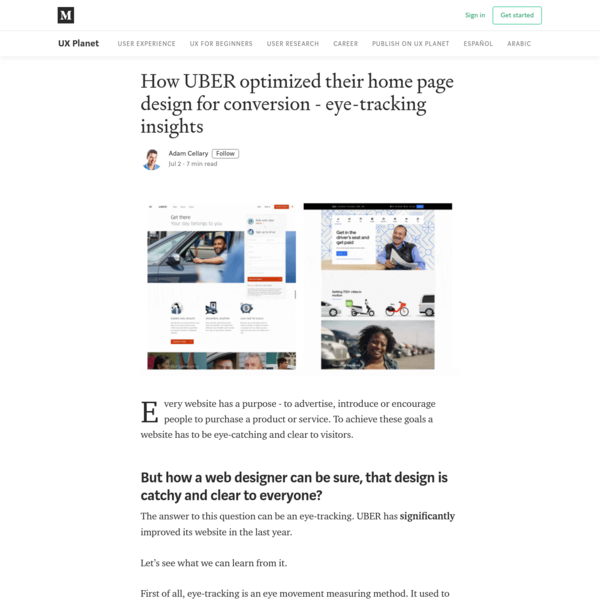 How UBER optimized their home page design for conversion - eye-tracking insights