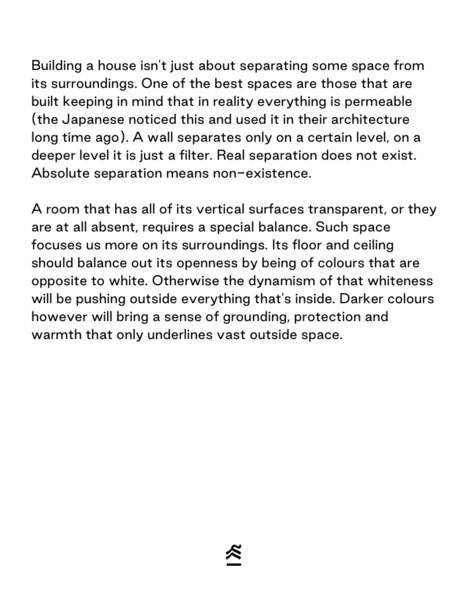 a quote on cosiness. about colours for rooms with no walls