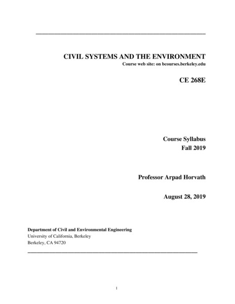 UC Berkeley CE268E: Civil Systems and The Environment