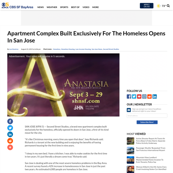 Apartment Complex Built Exclusively For The Homeless Opens In San Jose