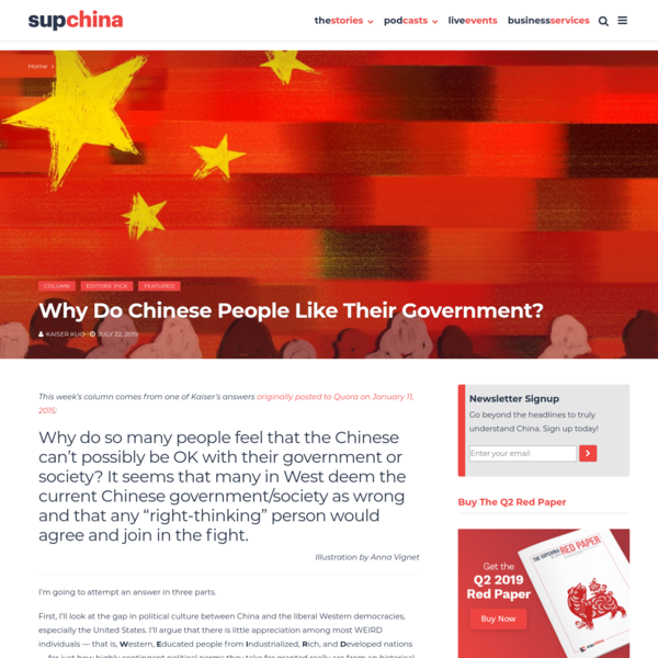 Why do Chinese people like their government?