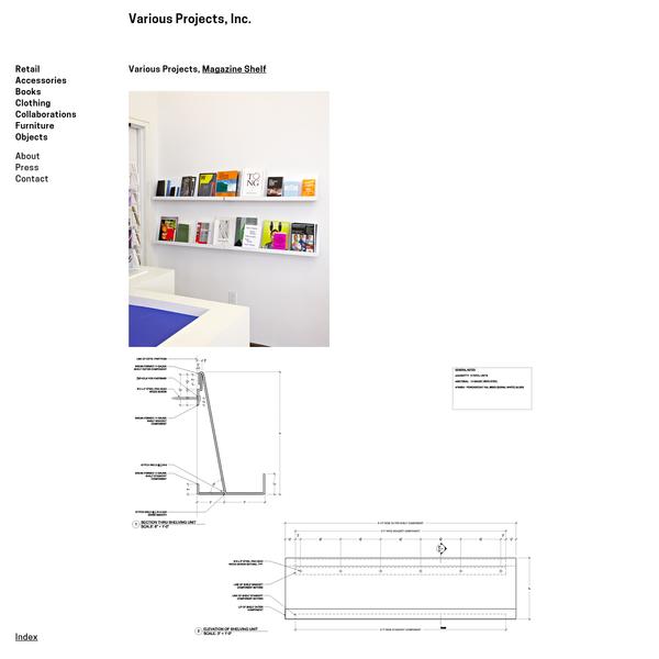 Various Projects, Inc. / Magazine Shelf