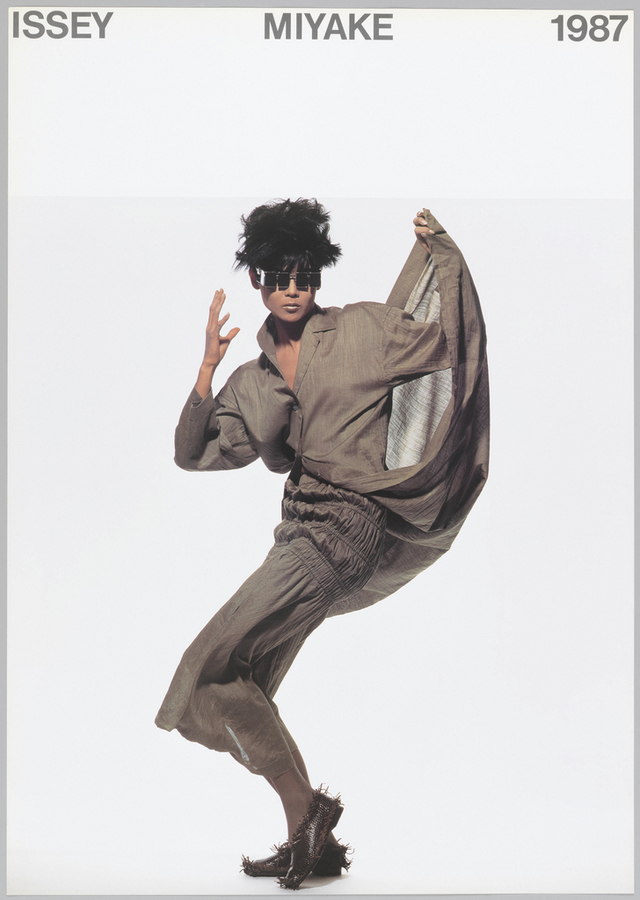 Designed by Ikko Tanaka and photographed by Irving Penn and featuring artwork by Issey Miyake. 1987.  https://collection.cooperhewitt.org/objects/18632541/