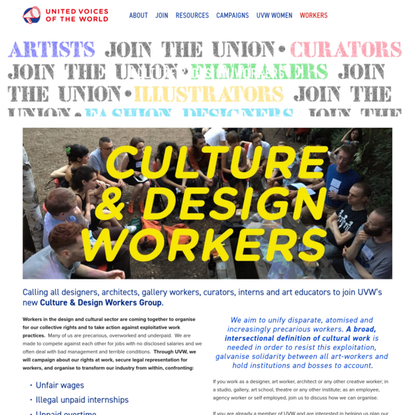 Culture & Design Workers - United Voices of the World