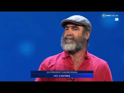Eric Cantona gives a cryptic speech after picking up UEFA President's Award