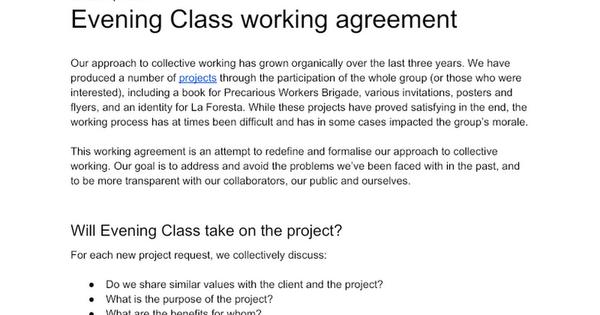 Evening Class Working Agreement - April 2019