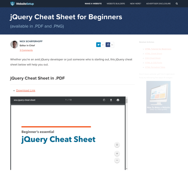FREE jQuery Cheat Sheet (Available in .pdf & .png)