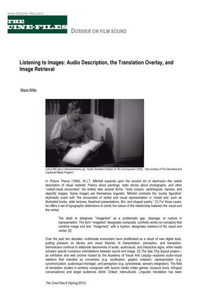 Mara Mills, Listening to Images, PDF