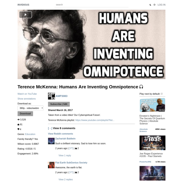 Terence McKenna: Humans Are Inventing Omnipotence