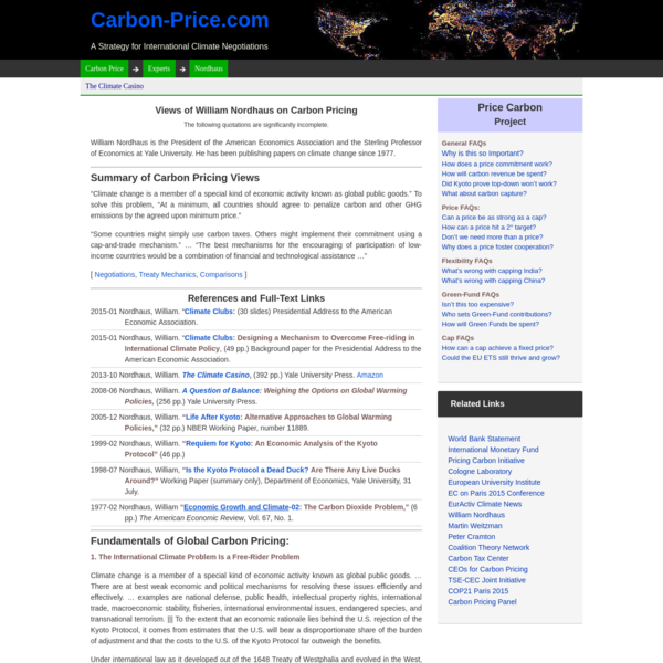William Nordhaus: Carbon Pricing & Climate Negotiations