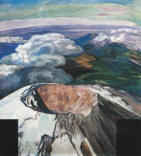 Gerardo Murillo   El Popocatépetl desde un avión  1948  Oleo y Atl sobre celotex  188 x 180 cm  Colección particular
