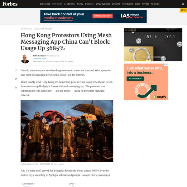 Hong Kong Protestors Using Mesh Messaging App China Can't Block: Usage Up 3685%