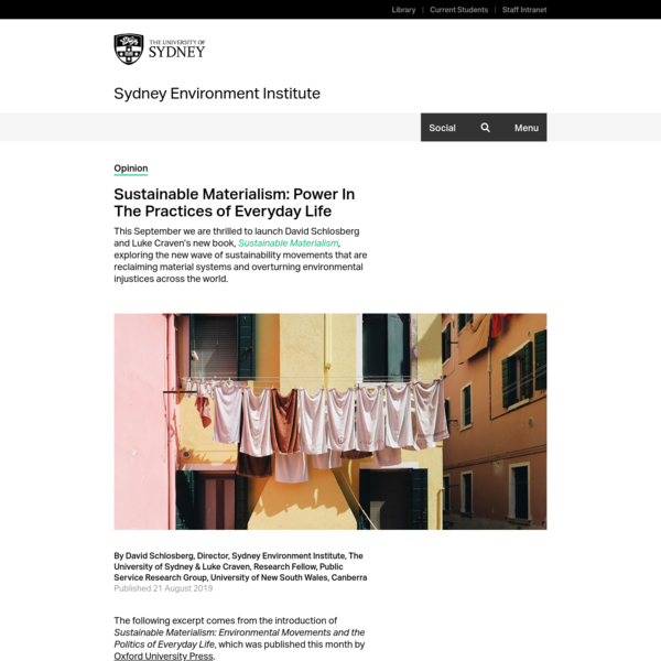 Sustainable Materialism: Power In The Practices of Everyday Life - Sydney Environment Institute