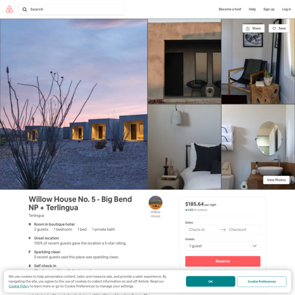 Willow House No. 5 - Big Bend NP + Terlingua - Boutique hotels for Rent in Terlingua, Texas, United States