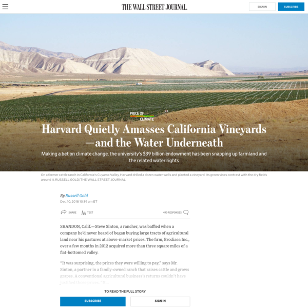 Harvard Quietly Amasses California Vineyards-and the Water Underneath